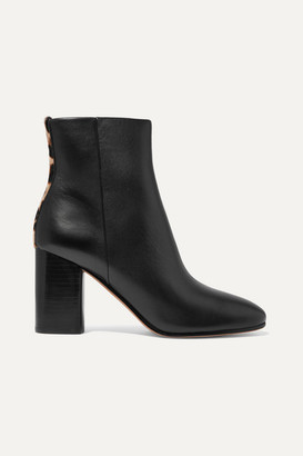 Diane von Furstenberg Robyn Leopard-print Calf Hair-trimmed Leather Ankle Boots - Black