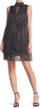 London Times Leopard Print High Neck Swing Dress