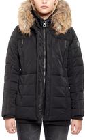 Point Zero Black Faux Fur-Trim Hooded Zip-Pocket Puffer Coat