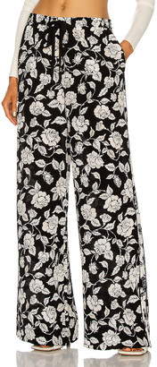 Zimmermann Silk Relaxed Pant in Ink & Natural Rose | FWRD