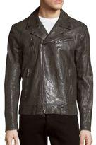 John Varvatos Embossed Leather Jacket