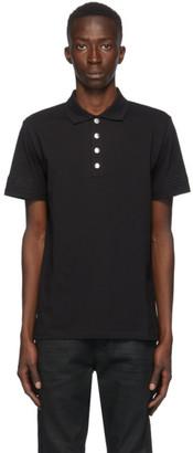 Balmain Black Embossed Logo Sleeve Polo