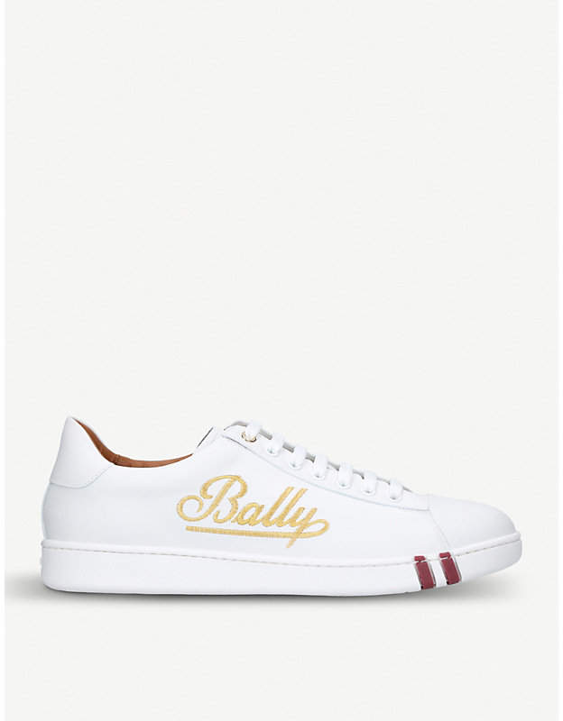Bally Winston logo embroidered leather trainers