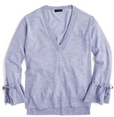 J.Crew Women's Drawstring Sleeve V-Neck Merino Wool Sweater