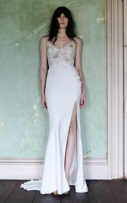 Elizabeth Fillmore Bridal Effie V-Neck Sheath Gown