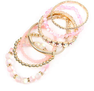 Riah Fashion Women's Bracelets Pink - Pink Rhinestone & Goldtone Beaded Stackable Bracelet Set