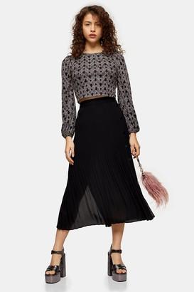 Topshop PETITE Black Pleated Side Button Midi Skirt