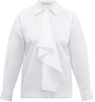 J.W.Anderson Draped Cotton-poplin Shirt - Womens - White