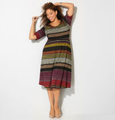 Avenue Wine Stripe Sweater Knit Skater Dress