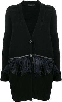 Fabiana Filippi feather-embellished cardi-coat