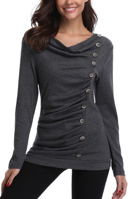 MISS MOLY Tunic Tops Women Long Sleeve Shirt Casual Blouse Pullover Jumper Side Buttons Grey Small