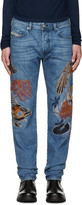 Diesel Blue Embroidered D-Buster Jeans