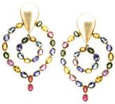 Tresor Collection - Multicolor Sapphire & Pearl Earrings in 18k Yellow Gold