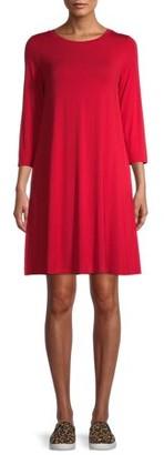 Time and Tru Women's 3/4 Sleeve Knit Dress