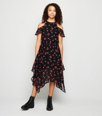 New Look Girls Floral Cold Shoulder Hanky Hem Dress