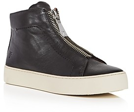 Frye Women's Lena Zip Up Leather High Top Sneakers