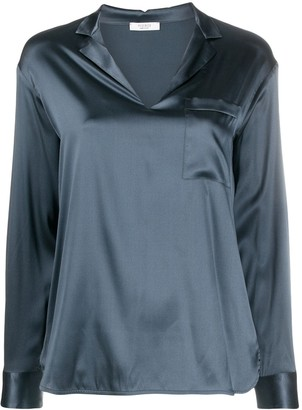 Peserico V-Neck Metallic-Effect Blouse
