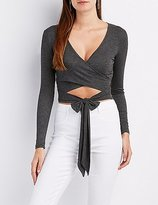 Charlotte Russe Ribbed Wrap Tie-Front Crop Top
