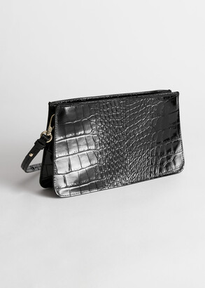 And other stories Leather Croc Embossed Shoulder Bag