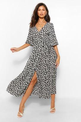 boohoo Printed Wrap Maxi Dress