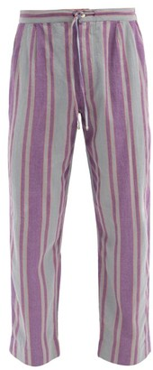Péro Pero - Drawstring Hand-woven Striped Cotton Trousers - Purple Multi
