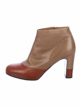 Hermes Leather Two-Toe Booties Brown