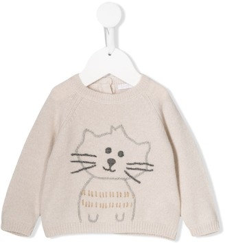 Il Gufo Knitted Cat Sweater