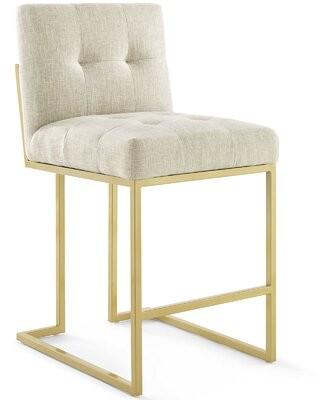 "Willa Arlo Interiors Privy Bar & Counter Stool Seat Height: Counter Stool (24.5"" Seat Height), Color: Gold, Upholstery: Beige"