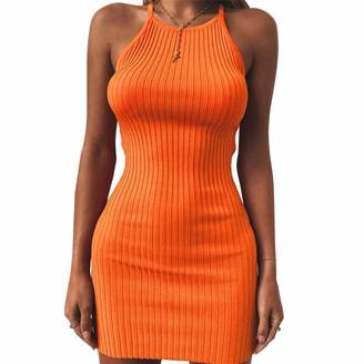 Sansiwu Women Bodycon Dress Knited Sleeveless Strappy Sleepwear Plain Cami Dress Night Mini Dress Cocktail (Grey XL)