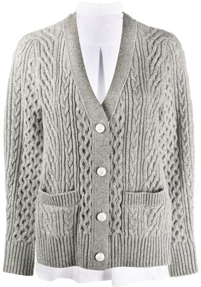 Sacai Cable-Knit Panelled Cardigan