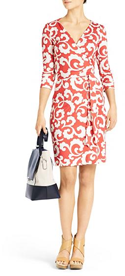 Diane von Furstenberg New Julian Two Silk Jersey Wrap Dress In Spiral Ferns Large Hot Coral