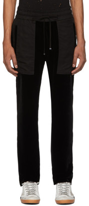 Amiri Black Velvet Commando Patch Lounge Pants
