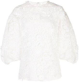 Carolina Herrera Floral Lace Blouse
