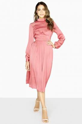 Lydia Lace Insert Satin Midi Dress