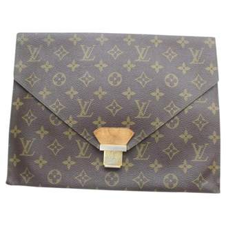 Louis Vuitton Brown Suede Clutch Bag
