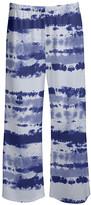 Lily Women's Casual Pants WHT - White & Navy Tie-Dye Palazzo Pants - Women & Plus