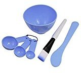 Frcolor 4 In 1 Facial DIY Mask Bowl Brush Spoon Tools Set Blue