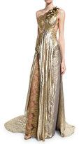 Marchesa One-Shoulder Grecian Gown w/ Floral Appliqué, Gold