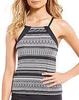 Jag Ethnic Stripe High Neck Tankini
