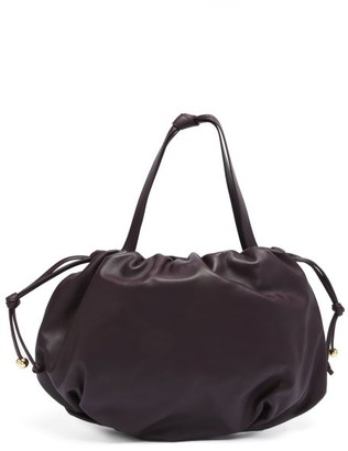 Bottega Veneta The Pouch Medium Drawstring Leather Shoulder Bag - Dark Burgundy