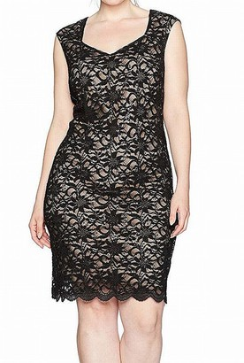 Tiana B T I A N A B. Women's Plus Size Sequence Lace Sheath with Sweetheart Neckline