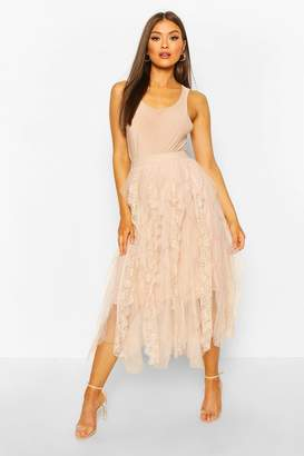 boohoo Lace Tulle Mix Midi Skirt