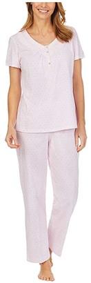 Carole Hochman Soft Jersey Short Sleeve Long Pajama Set (Pink Stripe/Dot) Women's Pajama Sets