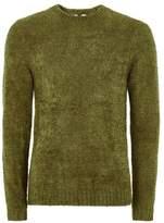 Topman Mens Moss Green Chenille Sweater
