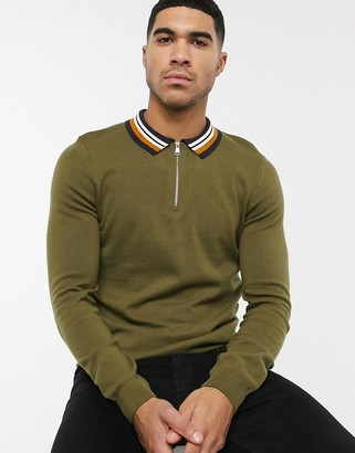 New Look long sleeve tipped collar zip polo in khaki