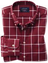 Slim Fit Button-Down Washed Oxford Burgundy and White Check Cotton Casual Shirt Single Cuff Size XS by Charles Tyrwhitt