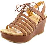 Kork-Ease Ease Adel Women Open Toe Leather Brown Wedge Sandal.