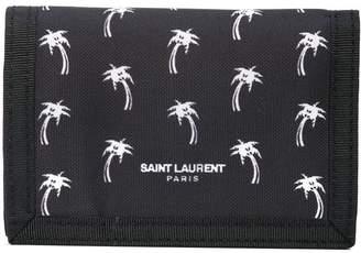 Saint Laurent palm-tree buffalo compact wallet