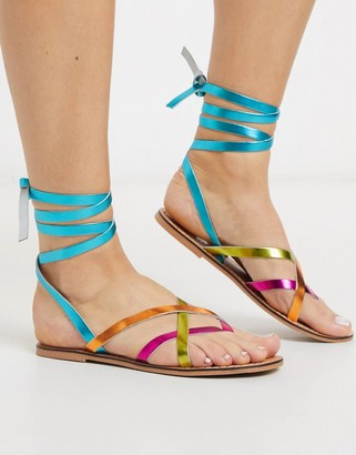 ASOS DESIGN Framed strappy leather sandal in bright multi