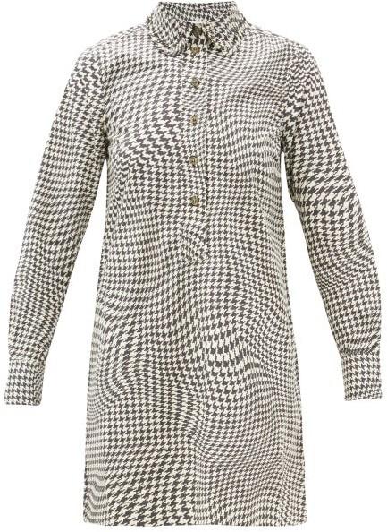 Ganni Optical Houndstooth Pea-collar Cotton Mini Dress - Black White